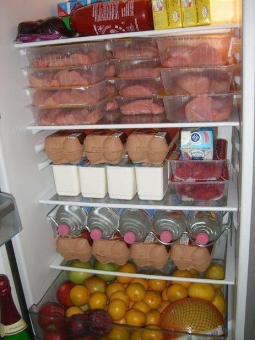 Холодильник с продуктами для набора массы