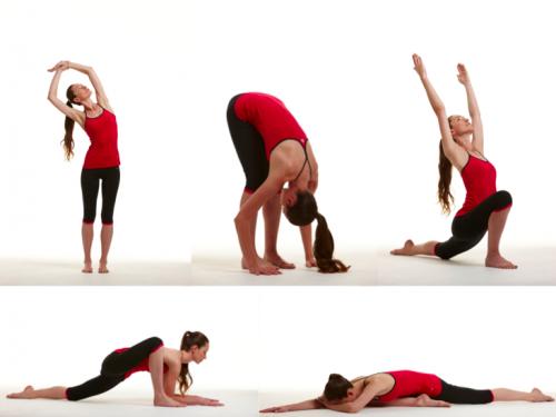 Девушка в красном выполняет упражнения
