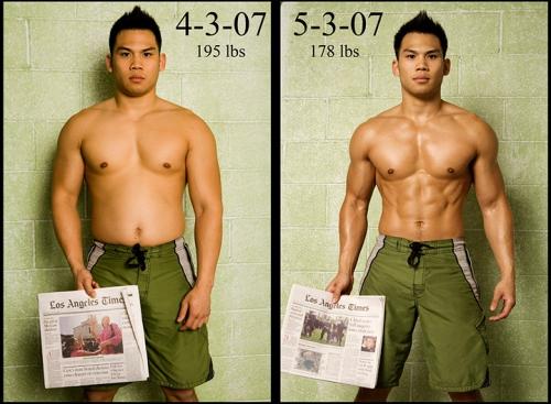 Мужчина до и после сушки