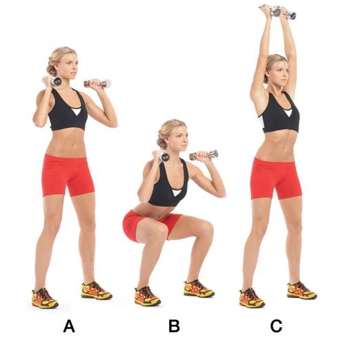 Упражнения на присед с гантелями